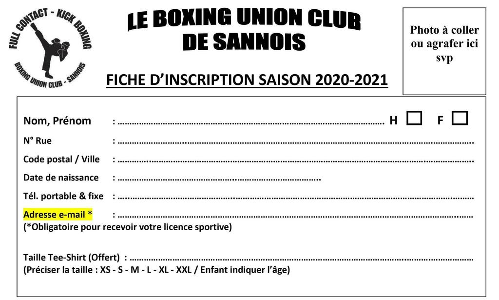 DOSSIER D'INSCRIPTION SAISON 2020-2021